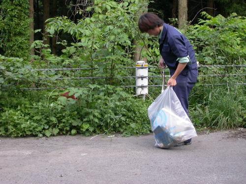 沿線のゴミ拾い